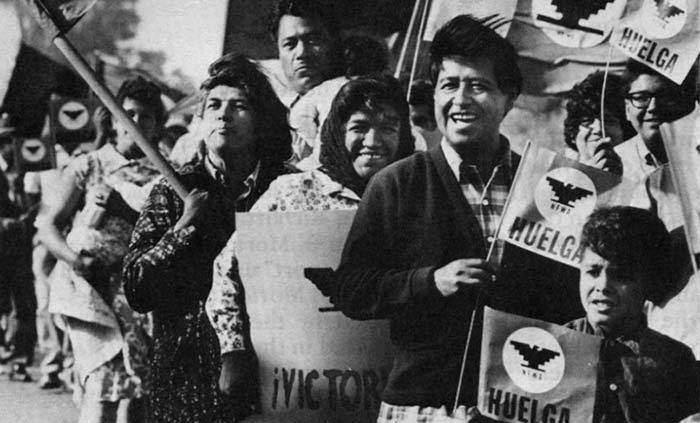 Cesar Chavez on a 1965 UFW Picket Line